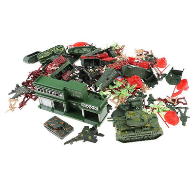146pcs Army Men Action Figures Soldier Playset w/ Scale Tanks, Planes, Flags