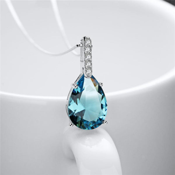 Elegant Light Blue Rhinestone Waterdrop Wedding Bridal Necklace Jewelry