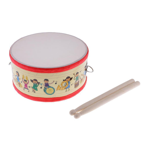 Mini Snare Drum w/ Wooden Sticks Set for Kids Musical Toys 7.95 x 3.93inch