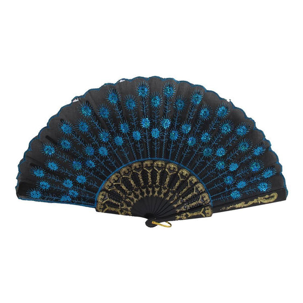 Fire Style Flower Fabric Folding Hand Dancing Fan black + azure R4S2