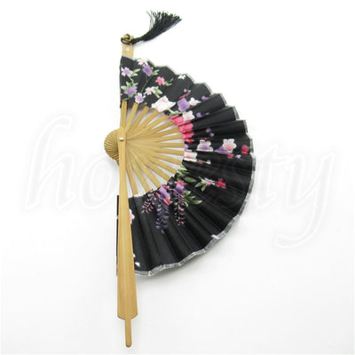 Chinese Japanese Folding Sakura Silk Hand Bamboo Pocket Fan Round Circle Gift