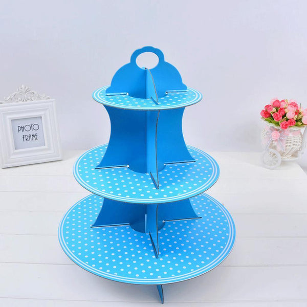 3 Tier Disposable Party Cardboard Foldable Strips Dots Cupcake Stand Blue
