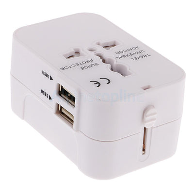 White Worldwide Universal Travel Charger Adapter Dual USB PORT AU/UK/US/EU