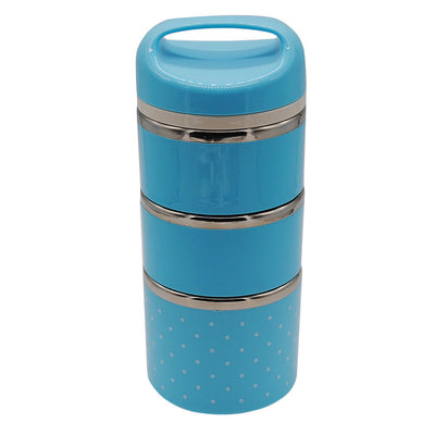 3 Layer Thermal Insulated Lunch Box Bento Food Container Stainless Blue