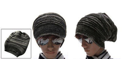 Men Textured Design Stretch Knit Cap Beanie Hat J4S2