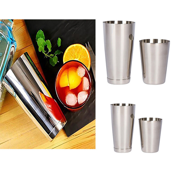 2 Sets Martini BAR COCKTAIL SHAKER Stainless Steel Boston Mixing Tin