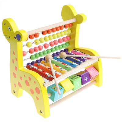 3 in 1 Kids Wooden Fawn Developmental Toys Number Blocks Abacus Xylophone