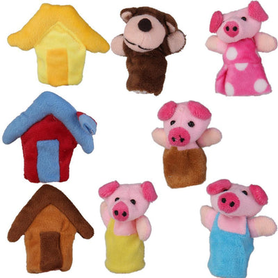 8pcs The Three Little Pigs Finger Puppet Kids Fairy Tale Bedtime Story Props