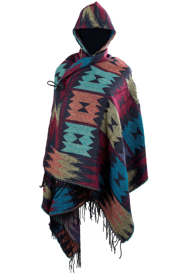 Ladies Knit Warm Hooded Hooded Shawl Pashmina Ponchos Cape scarf w/ fringe F6