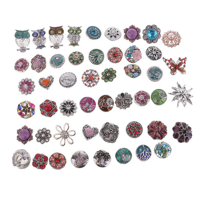 10Pcs 18mm Charm Snap Button For Noosa Style Bracelet Rings Jewelry Findings