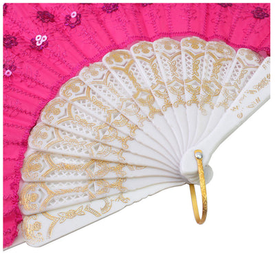rose Red Spanish Embroidered Folding Sequins Hand Flower Lace Fan Party Wed I5M8
