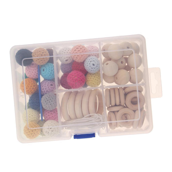 80pcs Crochet Wood Beads DIY Baby Nursing Teething Necklace Jewelry Making