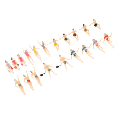 Pack/20Pcs N Scale 1/150 Painted Models Figures People Male & Female Swimmer