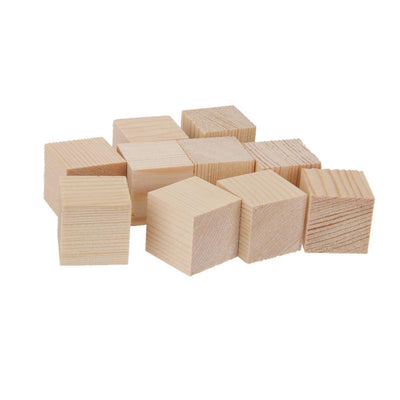2x 12x 40mm Wood Shape Blocks Unfinished Sqaure Embellishments for Scrapbooking