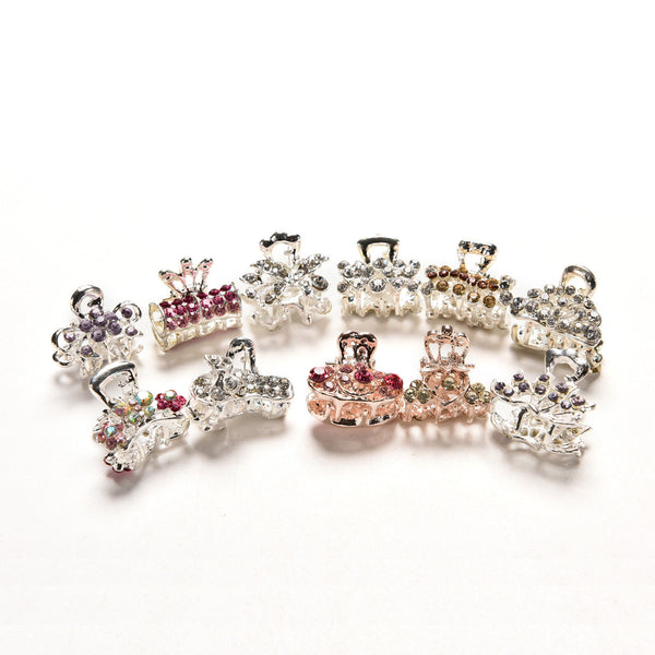 5X Style New Crystal Flower Mini Hair Claw Clamp Hair Clip Hair Pin Best  3C