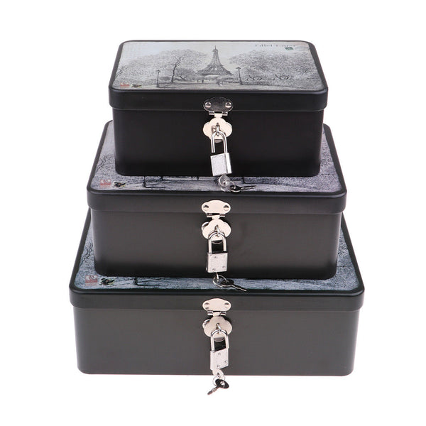 New Safe Cash Money Saving Box Tinplate Key Lock Deposit Bank 3pcs Style 5