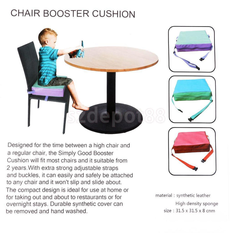 Portable Chair Booster Cushion Seat Pad Soft Kids Dining Chair Booster