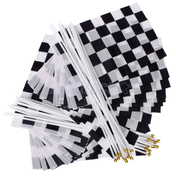 24pcs Black & White Chequered Checker Hand Waving Flag Racing Banners Gift
