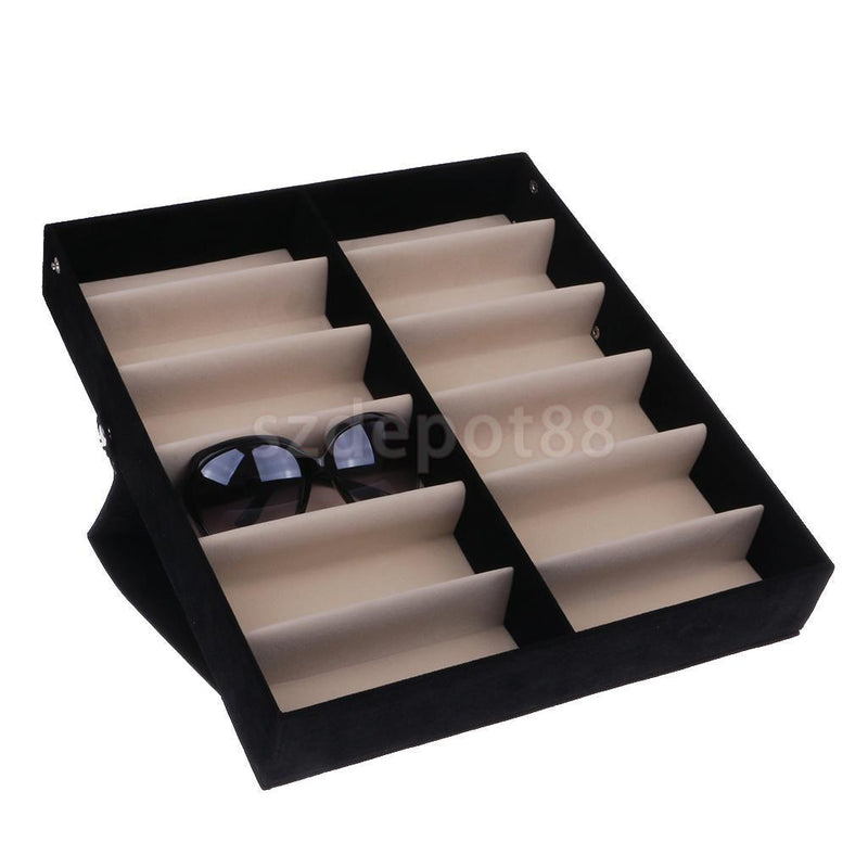 12 Pairs Sunglasses Glasses Retail Shop Display Storage Stand Case Box Tray