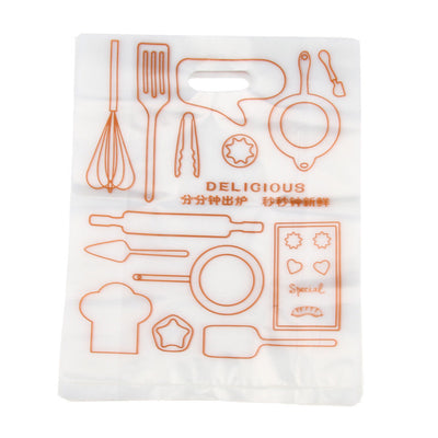 100 Pcs Plastic Food Packing Bags Handle Oilproof Takeouts Take-away 10x13''