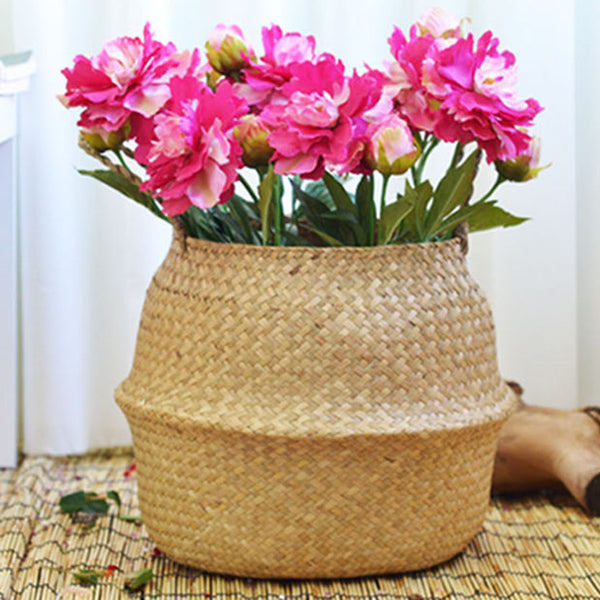 2pc Handmade Natural Seagrass Woven Storage Basket for Storage, Laundry, M S