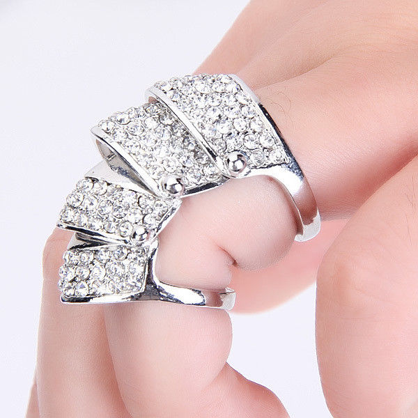 HOT Celeb's Full Rhinestone Armor Hinged Joint Knuckle Double Finger Ring Punk