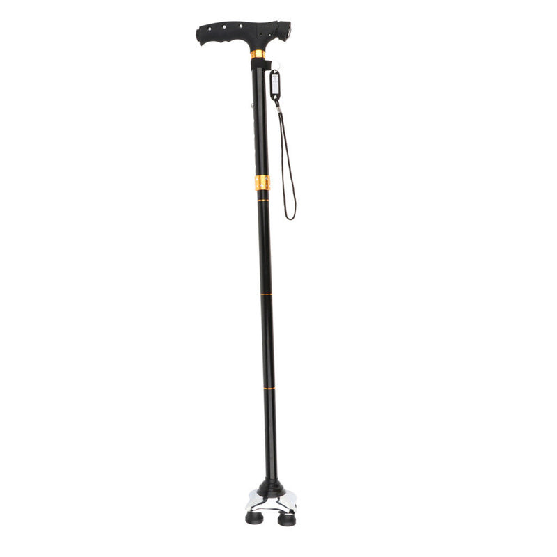 Adjustable Canes Collapsible Folding Quad Walking Sticks with LED Light
