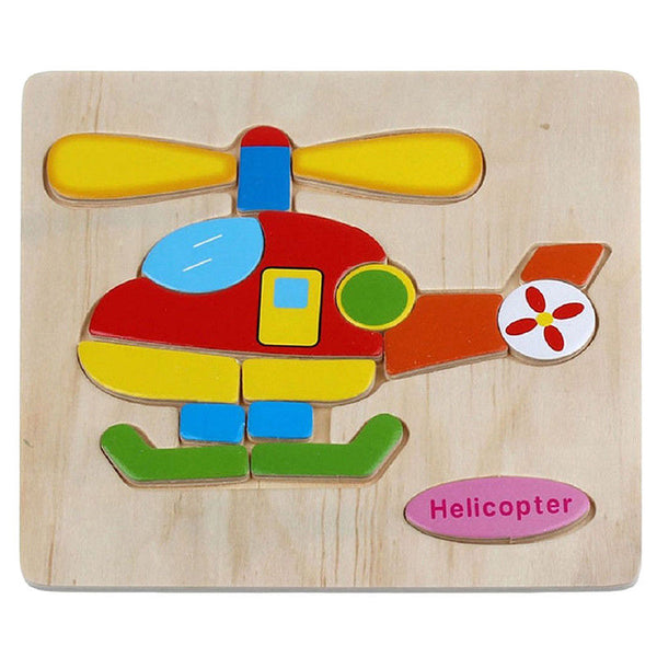 Wooden Puzzles Educational Development Baby Children Training Toys (Helicop P1Z8