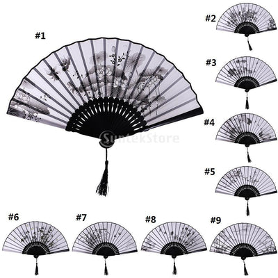 1Pc Carps Flower Bamboo Silk Chinese Pocket Folding Fan Party Dance Accs #1