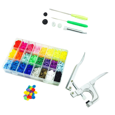 360 Sets T5 Colorful Snap Plastic Buttons Poppers + Snap Pliers Fixing Tools