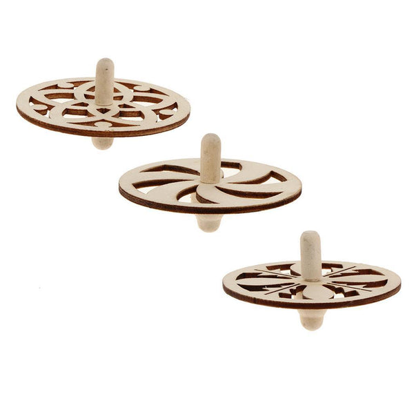 3pcs Assorted Unfinished Wood Peg-Top Spinning Top Gyro for Kids DIY Crafts