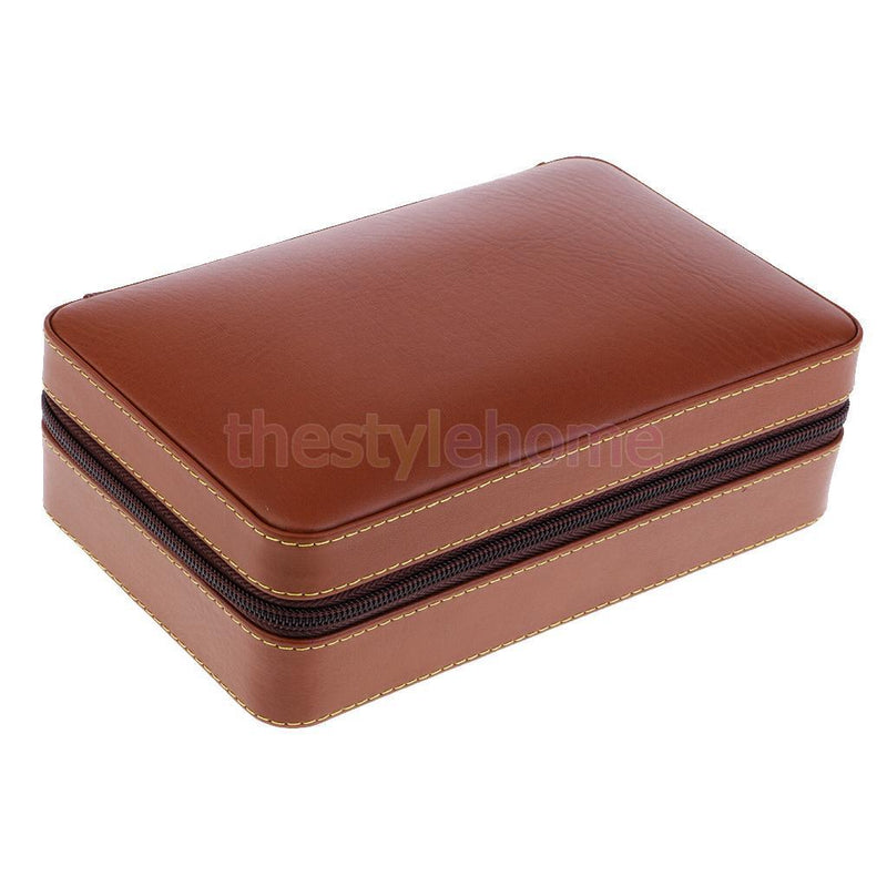 MagiDeal Brown Leather Cigar Humidor Business Travel Case Cigar Storage Box