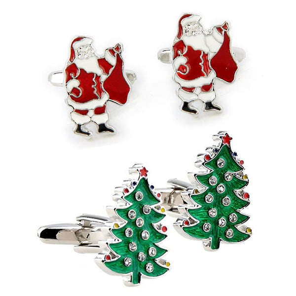 4 Pairs Christmas Tree CuffLinks Mens Shirt Cuff Links Suit Buttons Santa