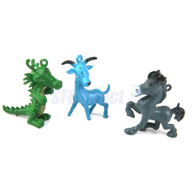12 PCS Mixed Color Plastic Chinese Zodiac Animals Kids Party Gift Bag Favor Toys