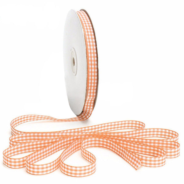45m Full Reel Cut Lengths Gingham Ribbon Sewing Crafts, 10mm Wide Orange K8N7