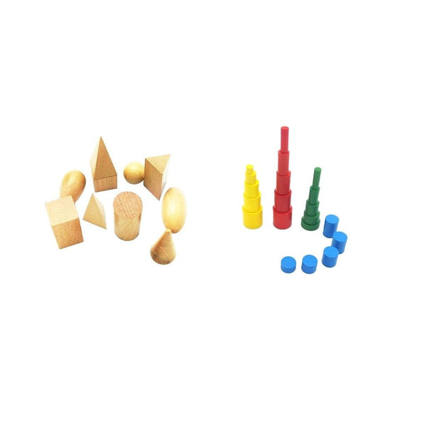 Montessori Toddler Kids Learning Toys - Knobless Cylinders,Geometry Blocks