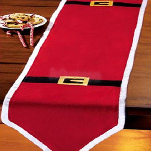 Red Christmas Dining Table Runner Cloth Party Holiday Banquet Home Decor