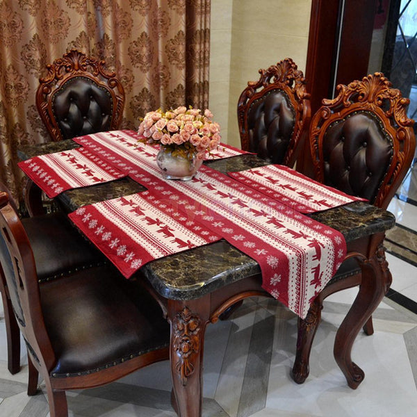 3x Christmas Dining Table Runner Cloth Red Reindeer Print Party Home Decoration
