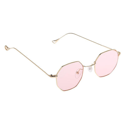 2pc Mirrored Flat Lenses Street Octagon Metal Frame Men Women Sunglasses