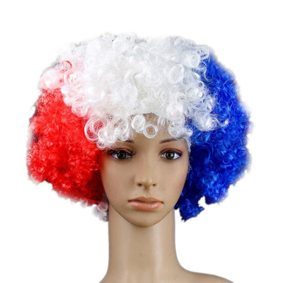 5/pack National Flag Colored Afro Wig Football Team Costume