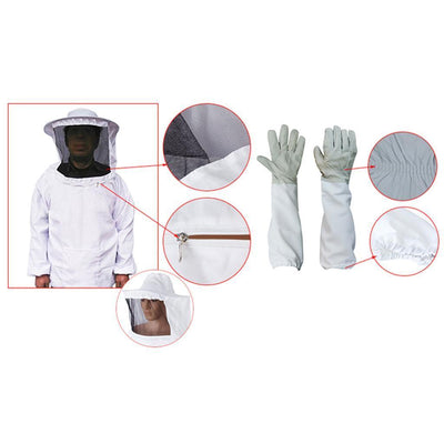 Professional Beekeeping Jacket Veil Dress Clothes Vented Long Sleeves Gloves