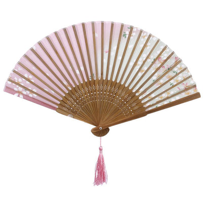 Japanese Hand Held Fan Sakura Silk Folding Fan with Wooden Fan Display Stand