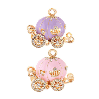 2pcs Rhinestone Pumpkin Carriage Crown Enamel Pendant Keyring Bag Pendants