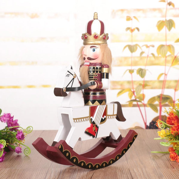Maroon Wooden Nutcracker On A Rocking Horse Home Decor Toys Gifts
