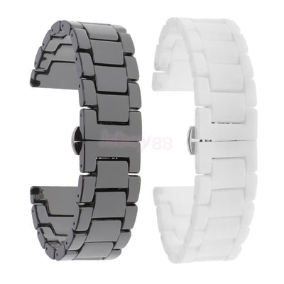 2Pcs 20mm Fashion Ceramic Watch Band Bracelet Curved End Replacement Strap
