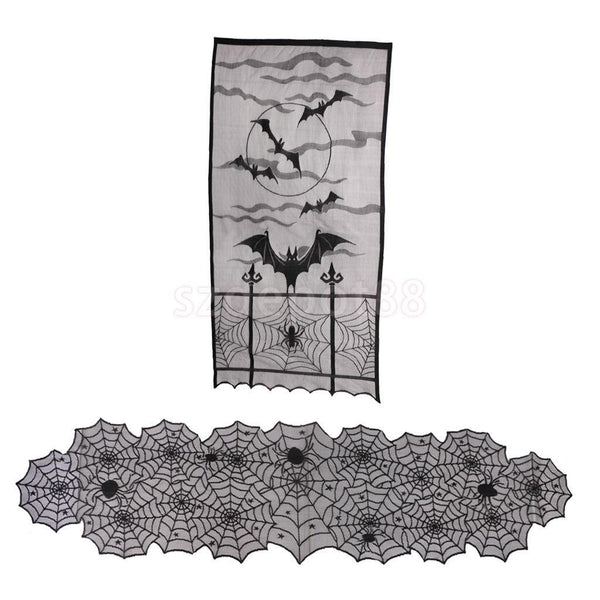 Halloween Retro House Bat Spider Tablecloth Table Runner Curtain Door Panel