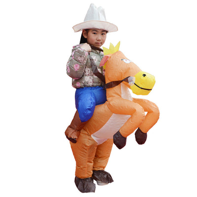 Funny Inflatable Costume Horse Rider Halloween Masquerade Kids Fancy Dress