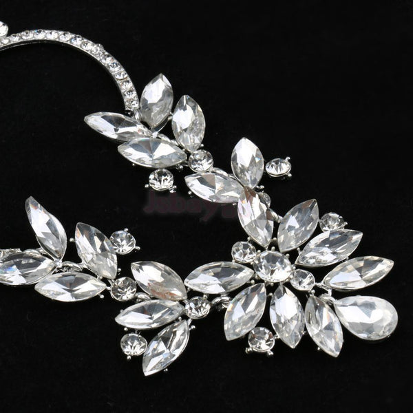 3x Gorgeous Bridal Shiny Crystal Waterdrop Floral Necklace Earrings Jewelry Set