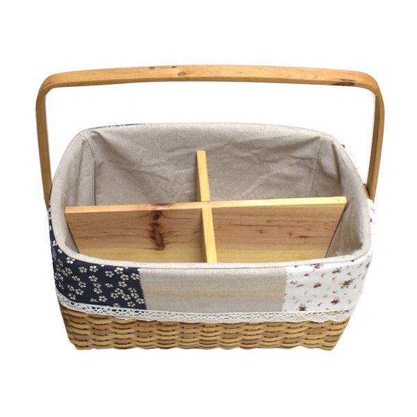 Cedarwood Woven Rattan Storage Basket Hand Knitting Boxes Woven Container