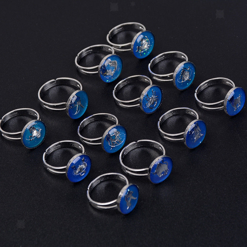 MagiDeal 12pcs Round Cabochon Horoscope Constellation Emotional Mood Ring